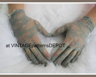 Women's GREY /Gray Lace Gloves, Wedding /Bridal Gloves or for bridesmaids, prom, party, formal, full fingered dressy gloves, wrist gloves