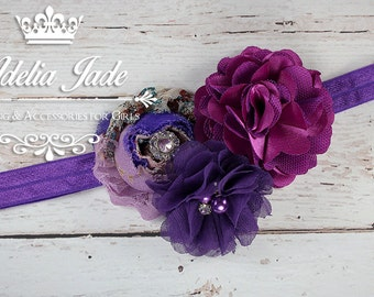 Purple Baby Headband, Purple Flower Headband, Flower Baby Headband, Infant Newborn, Chiffon Shabby Flower Headband, Newborn Baby Headband