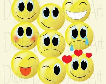 Emoticon clipart, Smilies clipart, Cute emos clipart, Emoticon clip art, Emoticon digital clip art, Clipart Design Elements, digital designs