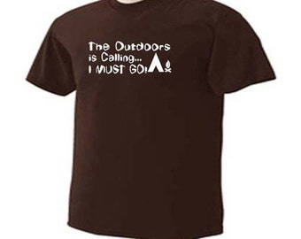 The Outdoors Is Calling I Must Go Camping RV Tent Campers T-Shirt