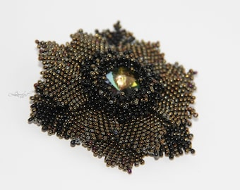 Beaded flower brooch in dark gold and black with Rainbow-Rivoli
