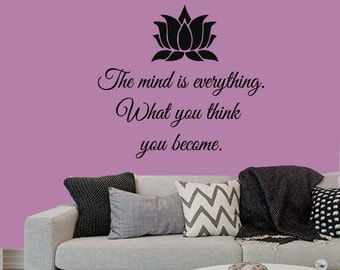 Wall Decals Buddha Quote The Mind Is Everything What You Think You Become Lotus Yoga Studio Home Art Vinyl Decal Sticker Bedroom Decor kk412