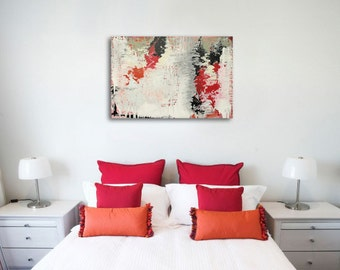 """ORIGINAL Abstract Painting on Wood Panel in Red, White, Black & Gray """"ENCHANTED FOREST"""" by Lisa Carney, Large Contemporary Art, Colorful"""