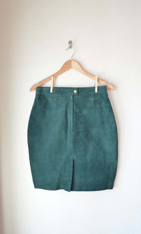 forest green suede skirt vintage leather skirt by