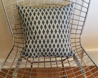 Small square pillow in screenprinted diamond motif fabric