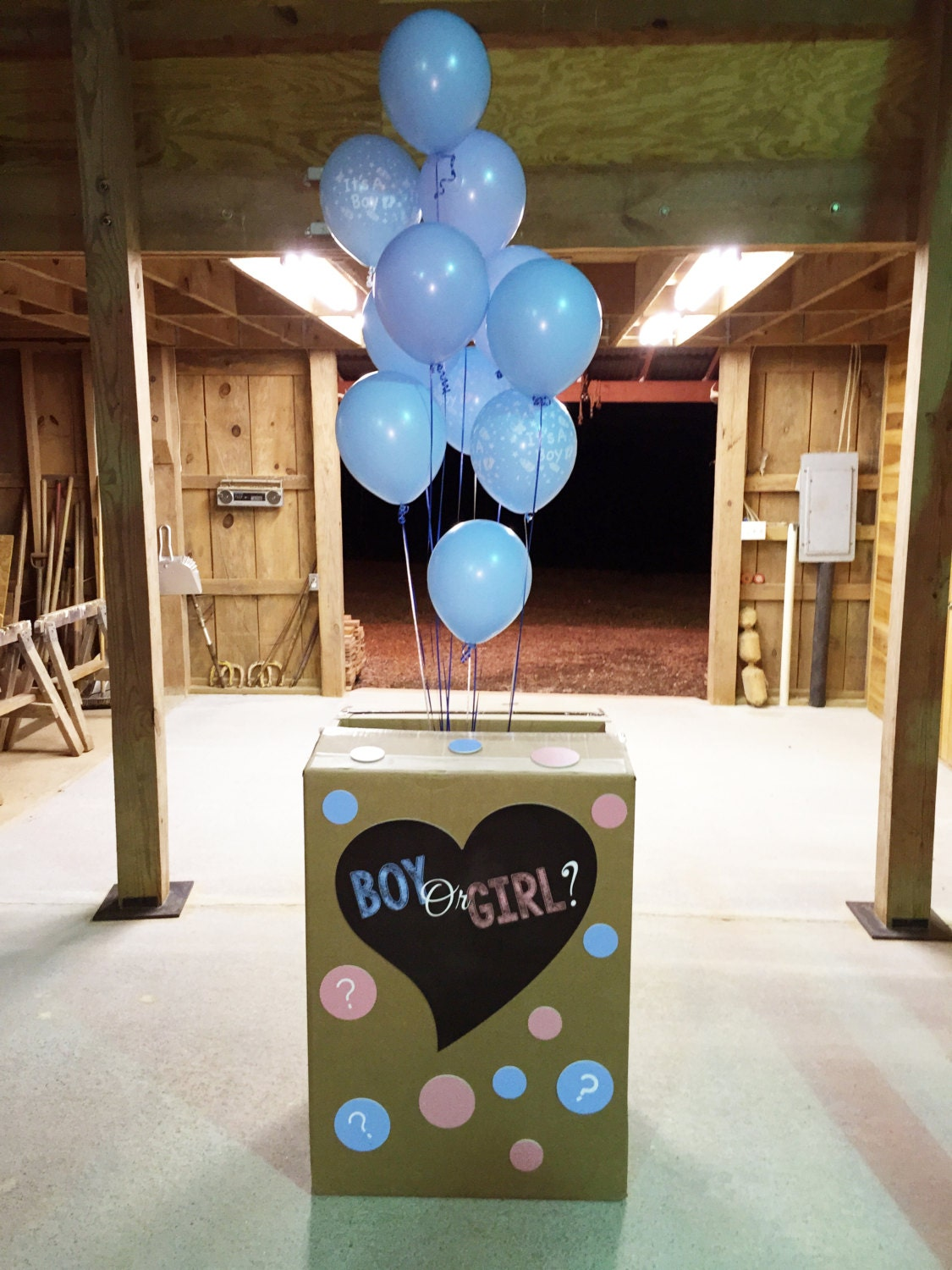 Gender Reveal Party Balloon Box Decorations