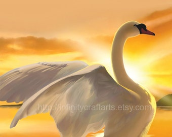 Majestic Swan, White swan on a lake, Swan on water at sunset, Swan spreading wings, White swan, White Mute swan, InfinityCraftArts