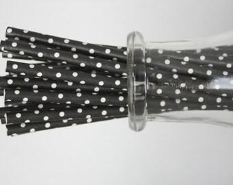 ON SALE - Black Polkadot Paper Straws - 24 pack (Australia)