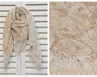 SALE Large Square chiffon scarf, Animal print scarf, Shawl Scarf, Tassel scarf, Fall Winter Scarf, Womens Fashion Scarf, HD4