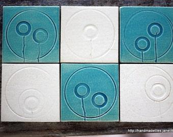 Turqoise and white. Set of 6 tiles. each 10cm x 10cm. White Raku clay, glazed. Bathroom art. Kitchen art. Tiles. Ceramic.