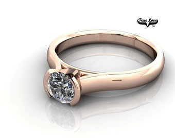 14 kt. Rose Gold Solitaire  Round Forever Brilliant Cut Moissanite Engagement Ring #7007