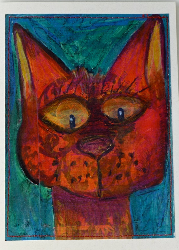Blank, Card, Cat, Just Because, Cat Card, Blank Card, Greeting Card, Smiling Cat, Birthday Cat, Silly Cat, Cat Art, Cat Painting, Happy Cat