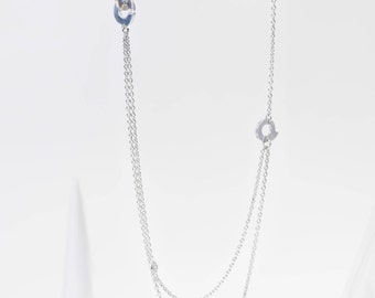 "Double-chain necklace ""01"" / Silver & zirconium oxide ""Ennead"""