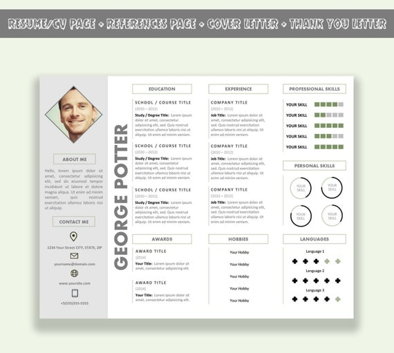 items similar to microsoft word horizontal resume template    cv template pack   cover letter