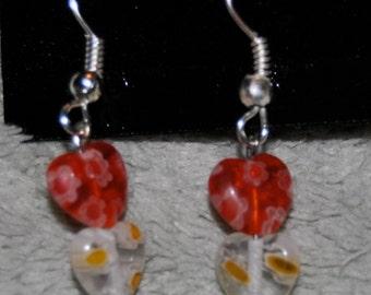 Hook Dangle Owl Charm Earrings with Heart Beads (NEW) And Handmade Myself