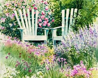 "flower painting, garden art ""Garden Chairs"" giclee print 10x10 watercolor."
