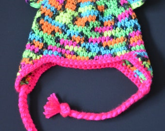 Crochet Neon Bear Earflap Hat - with your choice of edging and braid colour
