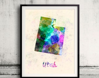 Utah US State in watercolor background 8x10 in. to 12x16 in. Poster Digital Wall art Illustration Print Art Decorative  - SKU 0431