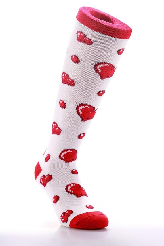 Samson® White Hearts Valentine Funky Socks Sport Knee High Sport Football Rugby Soccer