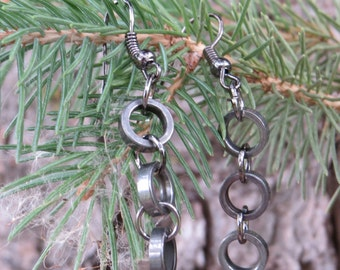 Recycle Bicycle Chain Dangle Earrings