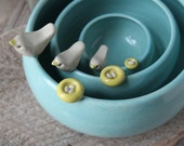 Pottery Birdie & Nest Nesting Bowl Set - In-Stock in Aqua with White Birds