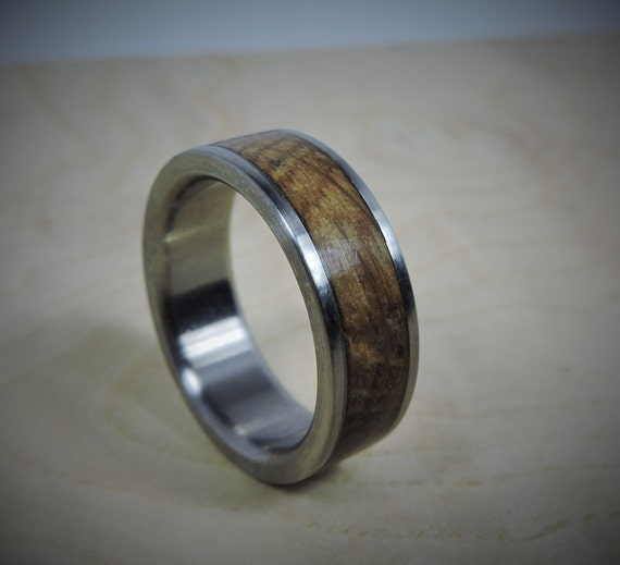 Titanium Ring Charred Oak Whiskey Barrel Inlay Ring By RobandLean