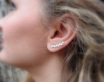 Ear Cuff Long Leaf Ear climbers Sterling Silver Ear Sweep Earrings