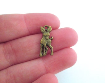 Brass plated deer charms, pick your amount, D37