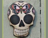 Sugar Skull Butterfly Tattoo Ornament- Original Folk Art Skeleton- Printed and Stuffed Fabric