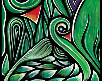 ASPARABIRDS Original Art PRINT Birds of Asparagus, Asparagus Birds, Dream Animals, Spirit Bird, Birds of a Feather Elegant Art Print