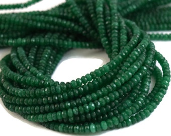 Green Rondelle Beads, Emerald Jade Beads, Dyed Jade, Jewelry Supplies, Faceted 4mm Stones, 15.5 Inch Strand, 150+ Beads