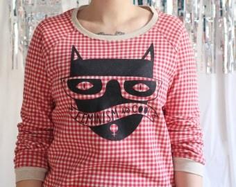 SALE Cool Cat Red Plaid Gingham Sweatshirt Size S-XL