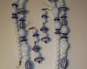 Delft Necklace Earring Set Vintage White & Blue Delft Style Beads