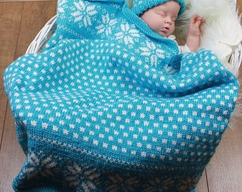 KNITTING PATTERN For Baby Snowflake Blanket / Afghan & Hat in 2 sizes PDF 295 Digital Download