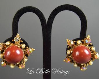 Vintage Florenza Earrings ~ Cinnamon Stars ~ Vintage 1950s Rhinestone Earbobs