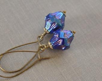 Blue Iris Earrings, Blue Glass, Iridescent Blue Earrings, Antiqued Brass, Kidney Wire, Czech Carved Glass, Baroque Earrings,