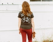 Bike lane tshirt for women, women's graphic tee, sharrows screenprint, cycling shirt, Share the Road by Blackbird Tees