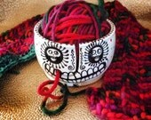 Laughing Skull Yarn Bowl with Spirals and Polka Dots Ceramic Original Design