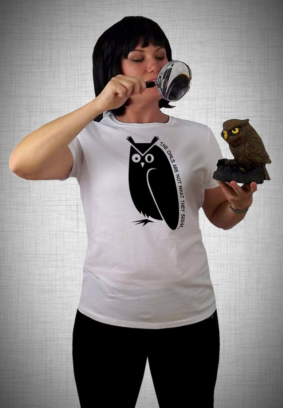 twin peaks t-shirt . the owls are not what they seem . womens fitted tshirt