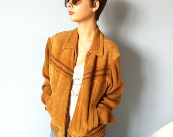 Vintage Suede Sweater Jacket - Counter Action - Mens Cropped Coat