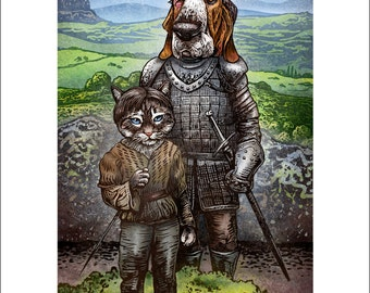 """Arya And The Hound- 8"""" x 10"""" Cat and Dog As Game of Thrones Characters"""