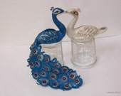 Peacock-Peahen Cake Topper  in Interracial Theme - Made to Order