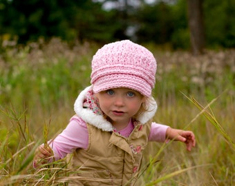 Toddler Girl Newsboy Hat 1T to 2T Toddler Newsboy Cap Toddler Girl Hat Pink Toddler Hat Light Pink Newsboy Crochet Toddler Girl Clothes