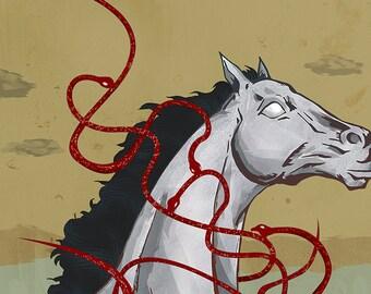 White Horse Art Print - Red Snakes - Landscape Earth Tones Modern Art