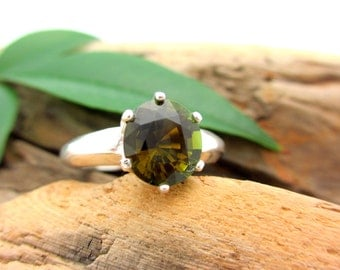 Olive Green Tourmaline Ring in Sterling Silver, Oval Faceted Gemstone - Free Gift Wrapping
