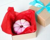 "Flower Pincushion or Wedding Rings Cushion ""Checks and Stripes Pink"", Christmas Seamstress Gift, Ring Bearer Pillow, Boxed Sewing PIncushion"