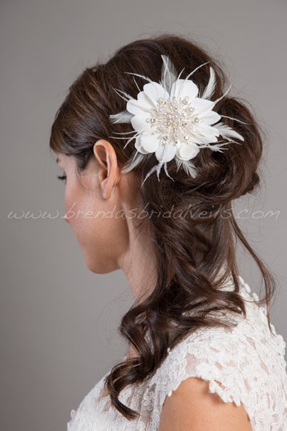 Bridal Hair Flower, Wedding Flower with Pearl and Rhinestone Snow Flake Center, Birdcage Veil Fascinator - Pearl
