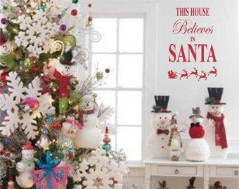 This House Believes in Santa Christmas Decoration Vinyl Wall Letter Words Decal