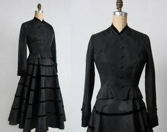 SALE- Taffeta & Velvet 2pc . 1940s Two Piece Set Vintage Formal Wear