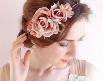 flower crown, floral crown, wedding headpiece, dusty pink floral headpiece, flower crown wedding, mauve wedding, dark pink headpiece